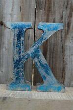 MEDIUM VINTAGE STYLE 3D BLUE K SHOP SIGN LETTER TIN WALL ART LETTER FONT 8 INCH
