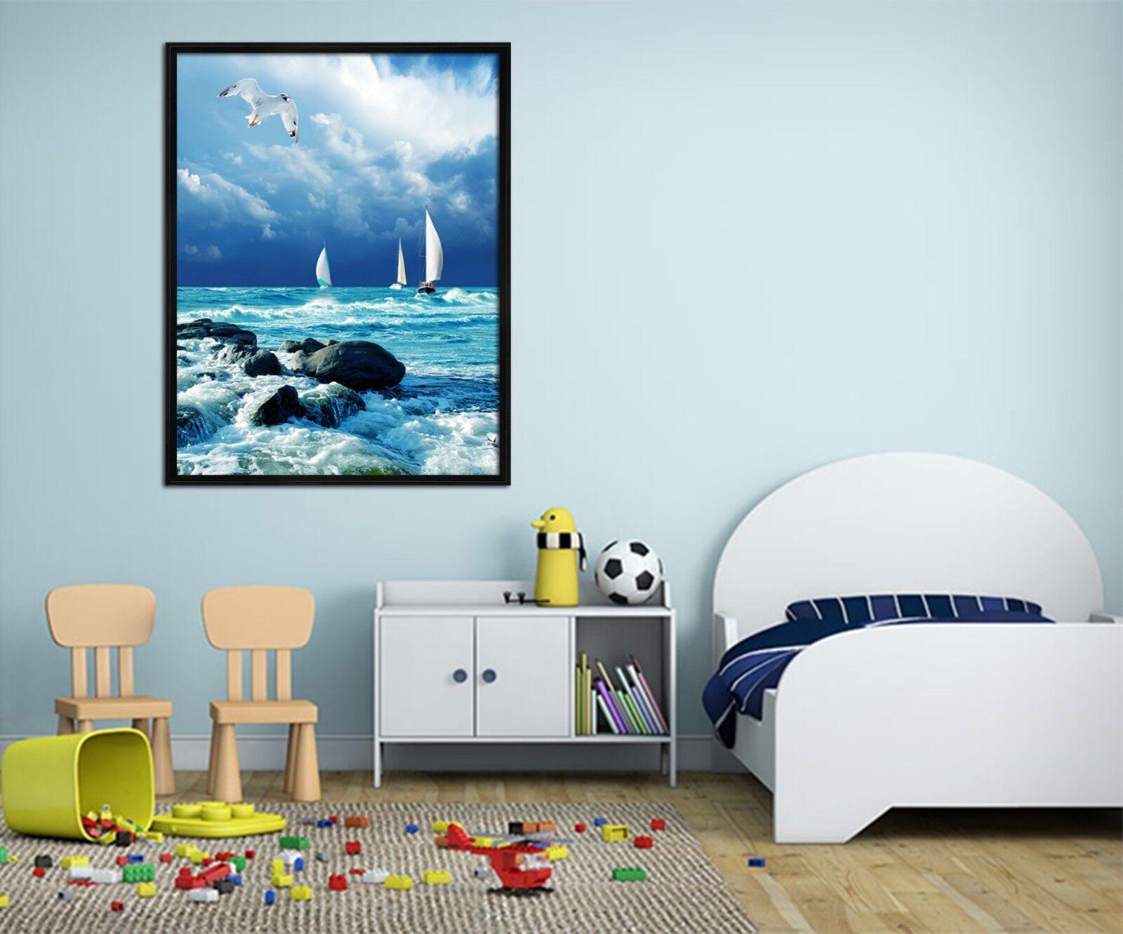 3D barco de vela del mar 3 Póster Enmarcado De Surf Decoración del Hogar Pintura de Impresión Arte Wallpaper