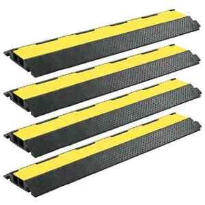 vidaXL-4x-Kabelbeschermer-Drempel-2-Tunnels-Rubber-Kabeldrempel-Kabeltunnel