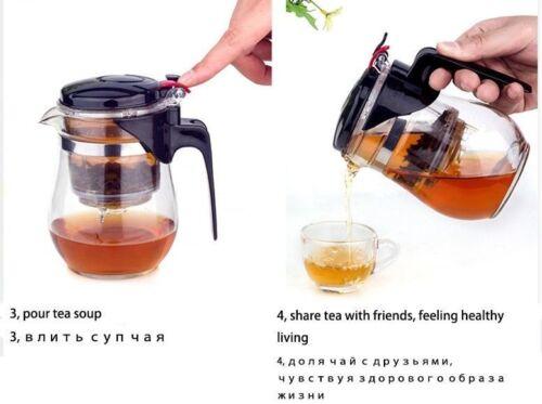 Glass Tea Pot Heat Resistant Coffee Infuser Teapot Leaf Filter Herbal Strainer