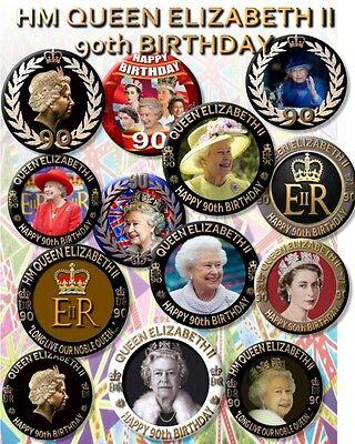 """90th BIRTHDAY OF HM QUEEN ELIZABETH II~ COMMEMORATIVE SOUVENIR ~2.2/""""//55 mm BADGE"""