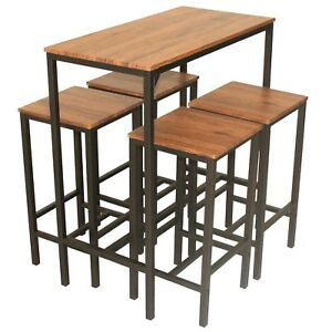 Dettagli su Mod. IBIZA Set Tavolo Bar e 4 Sgabelli Marrone H.97cm Cucina Arredo Sedia Design