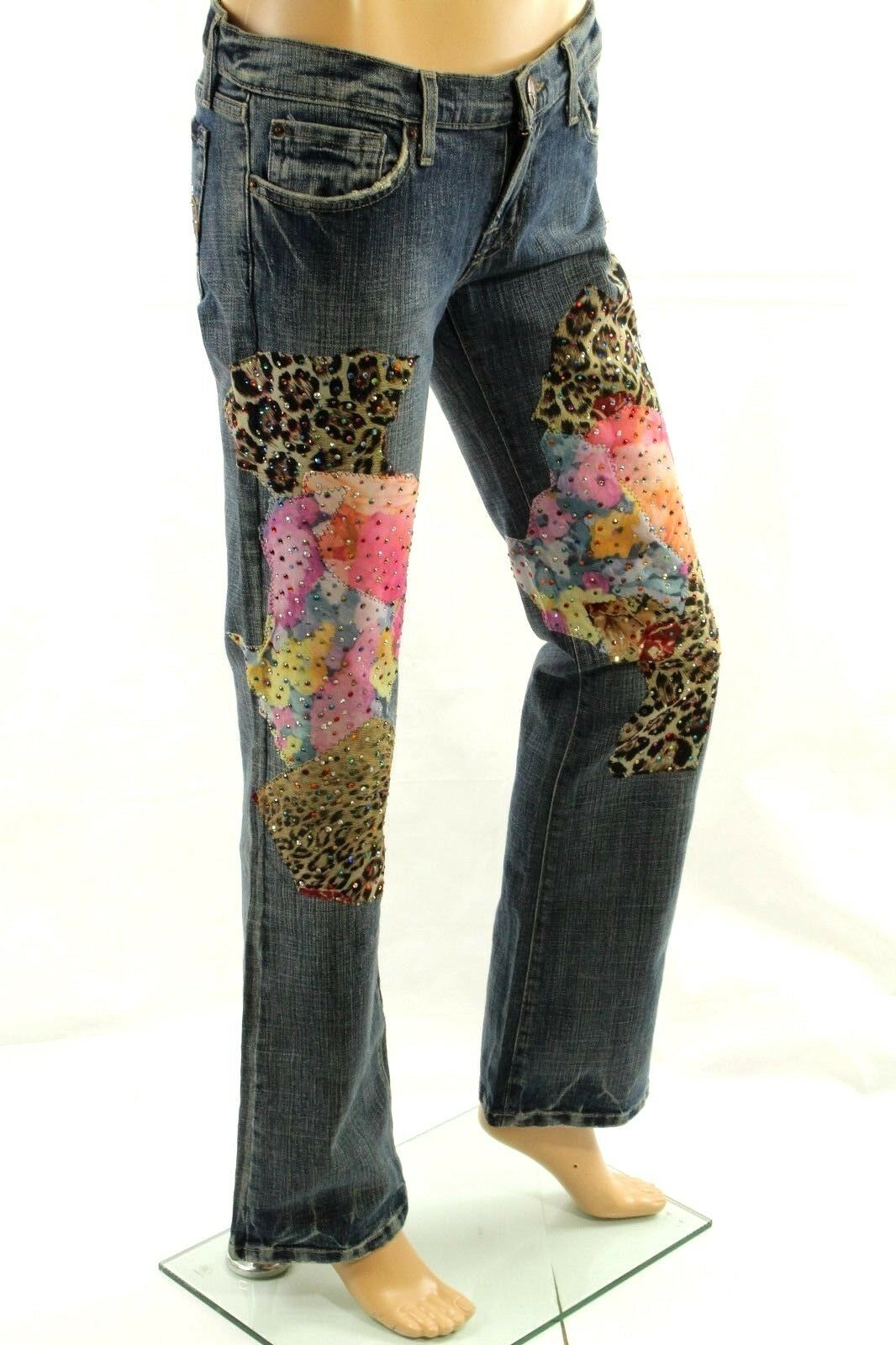 Claudio Claudio Claudio Milano Donna Jeans Taglia 9 Cristallo Decorato Animalier a82dc4