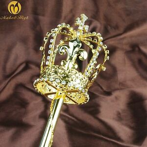 Floral Rhinestones Double Side Scepter Motif Wand Pageant Wedding Party Costumes