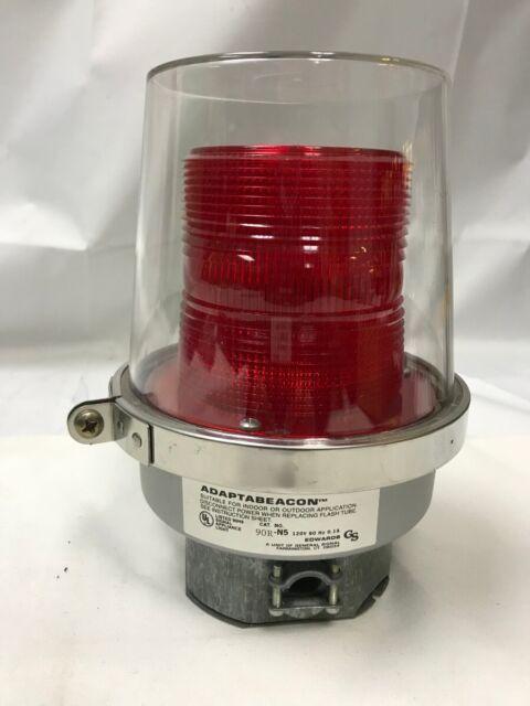 ADAPTABEACON 90R-N5 EDWARDS STROBE 120VAC RED FLASH WARNING LIGHT W MOUNT