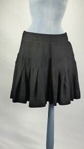 Vivienne-Westwood-RED-LABEL-Black-Wool-Short-Full-Flaring-Skirt-Pleated-size-L