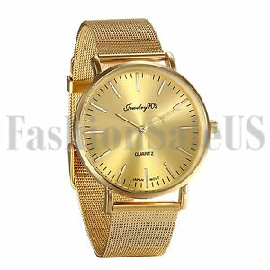Men-039-s-Gold-Tone-Stainless-Steel-Ultrathin-Mesh-Band-Quartz-Analog-Wrist-Watch