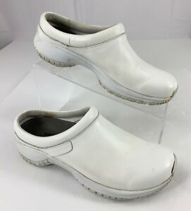 3635ff6f Merrell Encore Pro Grip White Leather Slip On Mules Clogs Shoes ...