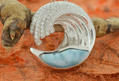 Larimar Wave CZ Pendant-Sterling Silver-Ocean,Wave,Big,Cute,Fashion,Sea Life