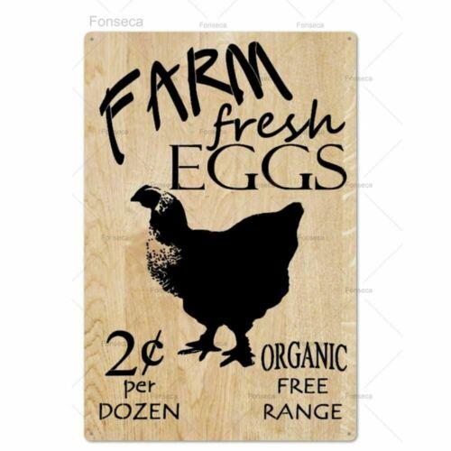 Farm Fresh Eggs Plaque Metal Sign Chicken Egg Vintage Rustic Farmhouse Art Decor