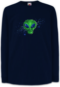 Pixel-Green-Alien-Face-Kinder-Langarm-T-Shirt-Area-Beam-Retro-Saucers-Vril-Gamer
