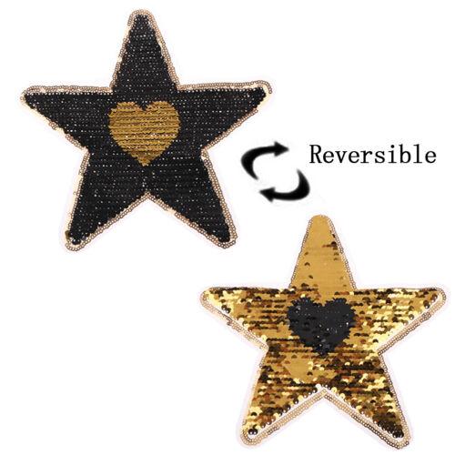 Stern Herz Reversible Pailletten annähen Patch für Kleidung DIY cWR