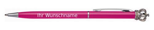 aus Metall mit Krone Drehkugelschreiber mit Gravur Kugelschreiberfarbe pink