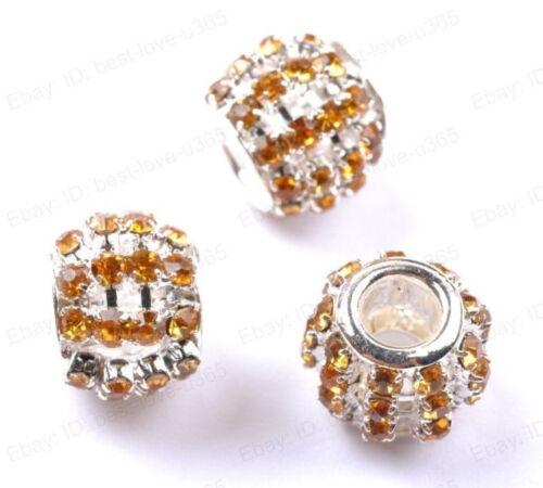 Gros Trou Tchèque Cristal Strass Pave Blotter Spacer Beads Fit European Charms