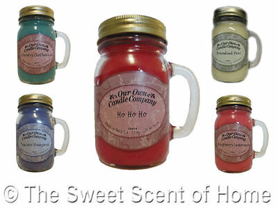 OUR OWN CANDLE COMPANY CO * MINI * JAR MASONS JAM JAR GLASS WITH HANDLE SCENTED