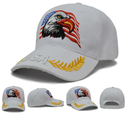American Flag USA Bald Eagle Patriotic Hat Baseball Cap Embroidered Eagle /& Flag