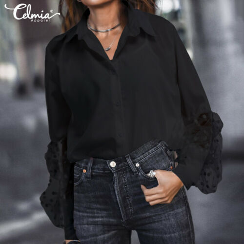 women Shirt Blouse formal Victorian Ladies vintage Sheer Polka Dot Top Plus Size