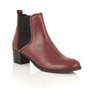 Ladies-Ravel-Henderson-Cherry-Leather-Low-Heel-Chelsea-Dealer-ankle-Boots-UK-7