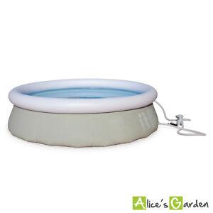 Piscine-Agate-gonflable-grise-autoportante-ronde-300-x-76-cm-avec-pompe