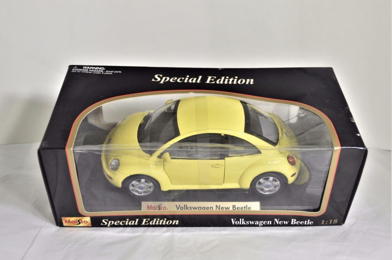 Maisto Special Edition Yellow Volkswagen New Beetle 1 18 Scale Die cast Car NEW