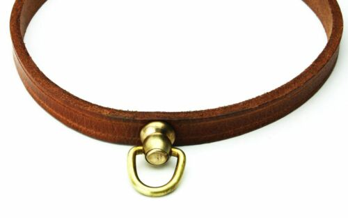 """11/"""" Genuine Leather Dog Collar 360 Degree Rotating Ring Copper Buckle Brown"""