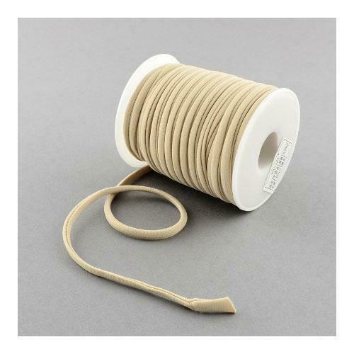 1 x Beige Habotai Stretchy Spandex 2m x 5mm Thong Cord Continuous Length Sewing