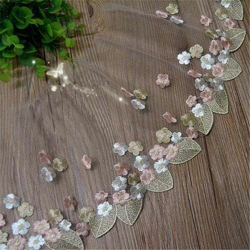 """2 yards Lace Trim Ivory Cotton Wave Embroidered Tulle Lace Fabric 9.44/"""" width"""