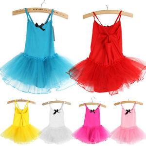 KIDS GIRLS MULTILAYERS TULLE LEOTARD SKATING BALLET TUTU SKIRT DRESS DANCEWEAR