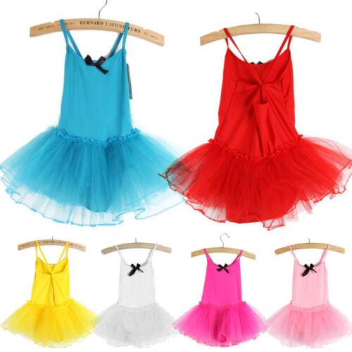 Baby Kinder Mädchen Tutu Tüll Ballettkleid Ballettanzug Turnanzug Skater Kleid