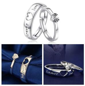 Forever Love- Sterling Silver Plate Wedding/Engagement Adjustable/Sizeable Rings
