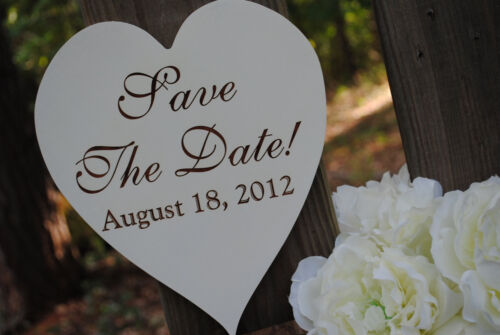 Handmade /& Laser Etched Heart Shaped Engagement Sign Save The Date
