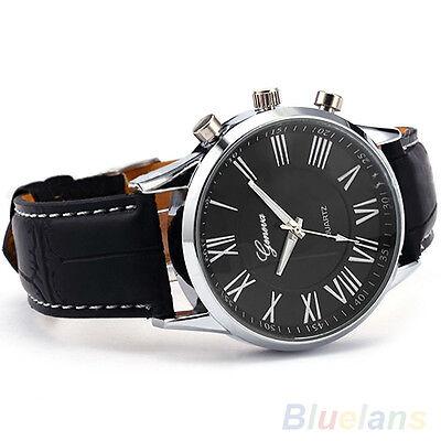 New Roman Dial Men Elegant Leather Black Analog Quartz Sport Wrist Watch BGBU