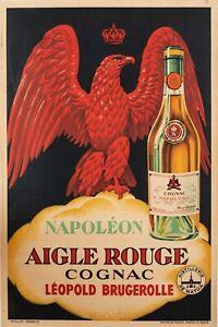 Original-Vintage-Poster-COGNAC-NAPOLEON-AIGLE-ROUGE-CHAMPAGNE-Spirits-1930