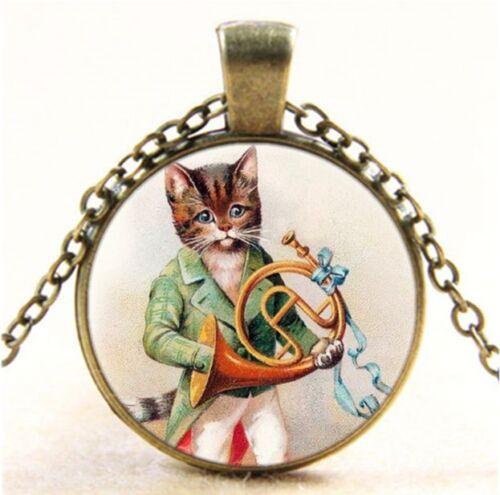Vintage chat avec cor Cabochon Verre Bronze Chaîne Collier Pendentif