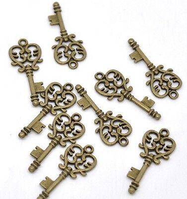 Skeleton Key Charms Brass Steampunk 1-1/4 Inch Jewelry Lot of 12