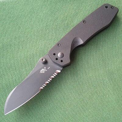 Sanrenmu 8CrMov14 Black half-serrated Blade Survival  Folding Knife GB4-913P