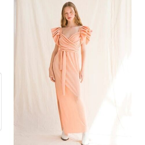 Tach Feria Peach Pink Maxi Dress Size Small Puff S