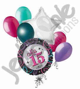 Image Is Loading 7 Pc Mis Quince Sparkles Happy Birthday Balloon