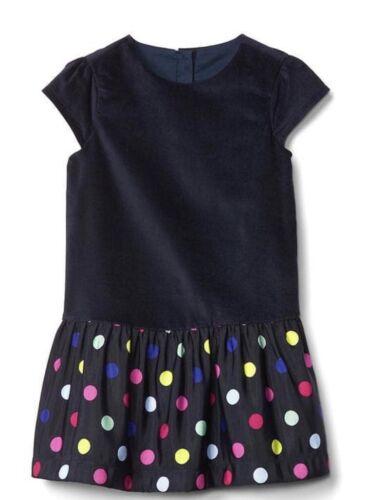 Baby Gap Girl Toddler Bright Dots Drop Waist Dress Velvet Blue Size 2T 2 Years