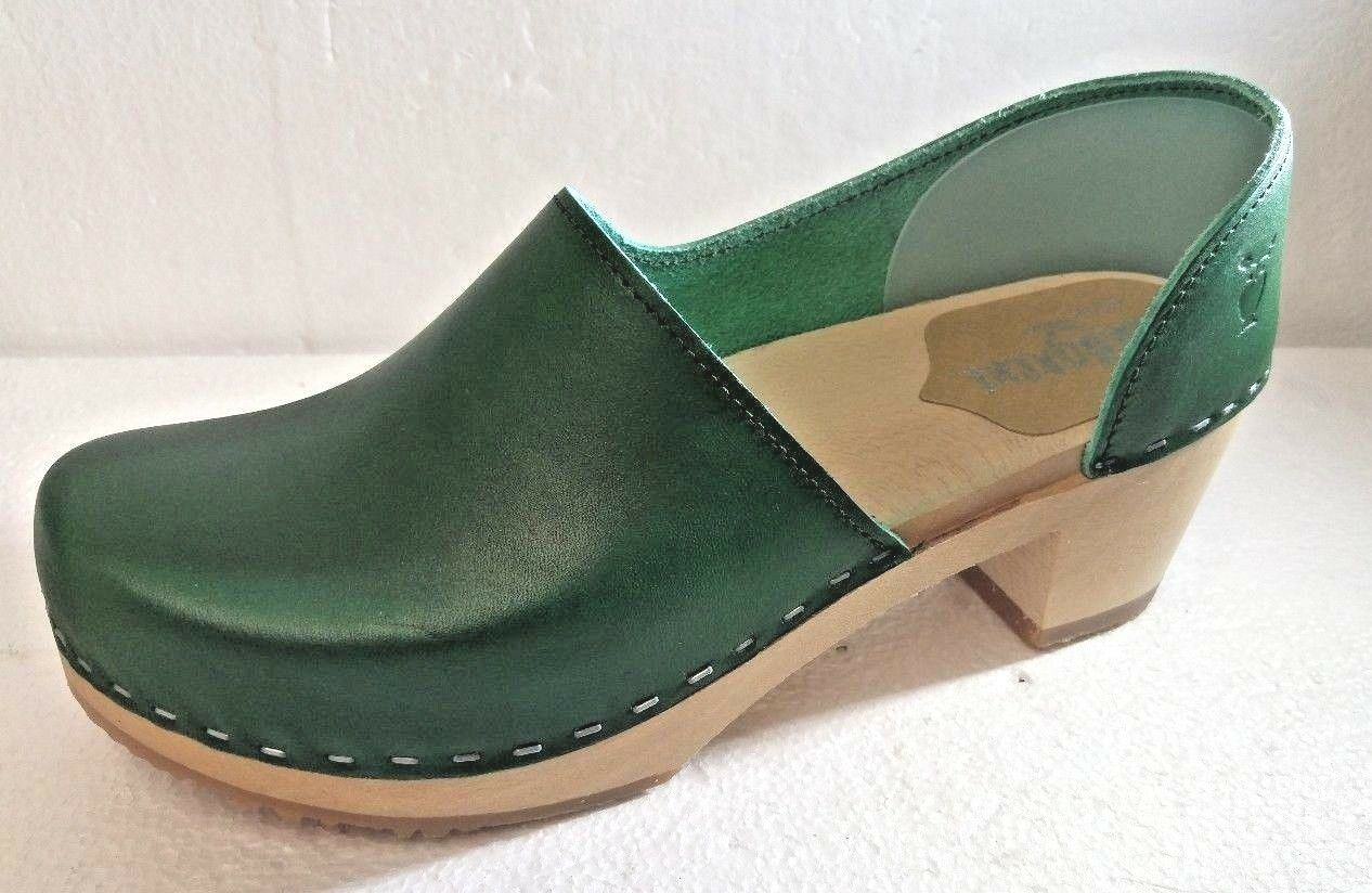 Sandgrens  Swedish High Heel Wooden Clogs for donnaverde, Dimensione 40  si affrettò a vedere