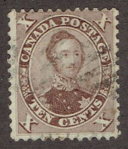 Canada-Stamps-17-1859-Red-Lilac-HRN-Prince-Albert-light-used-with-good-perf