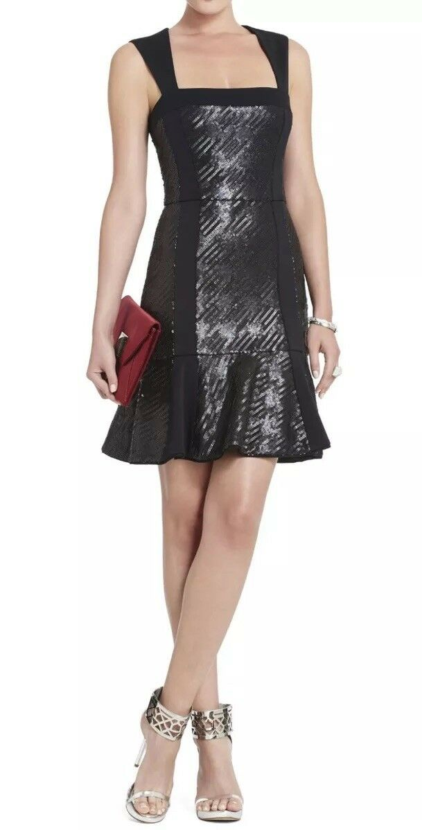 Bcbg Max Azria  Noelle  Fitted Sequined Flounce Dress LBD Size 12 NWT  368