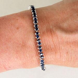 BR90-Superbe-Bracelet-Argent-Massif-925-veritables-beaux-Saphirs