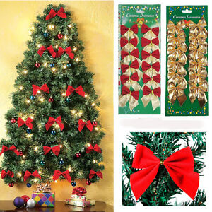 12-Pcs-Set-Bow-Christmas-Tree-Decor-Home-Xmas-Hanging-Ornament-Bowknot-Party