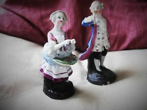 PAIR-VERY-OLD-FIGURINES-SPILL-HOLDERS-REGENCY-LADY-amp-GENTLEMAN-GOOD-COLOURS