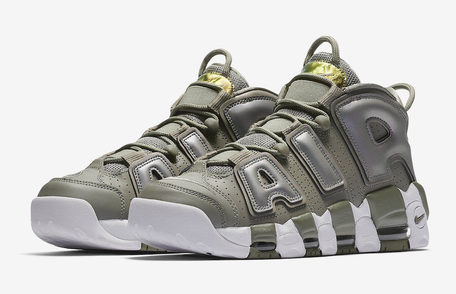 Nike WOMEN'S Air More Uptempo Dark Stucco White Black IRIDESCENT SIZE 8 NEW