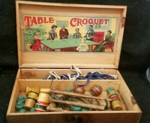ANTIQUE-VICTORIAN-wooden-TABLE-TOP-CROQUET-SET-game-clean-interior-lithograph