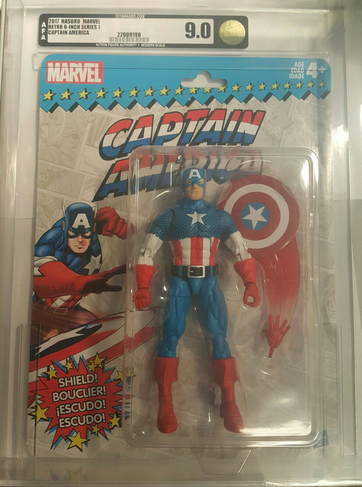 2017 HASBRO MARVEL RETRO SERIES 1 CAPTAIN AMERICA AFA 9.0 gold