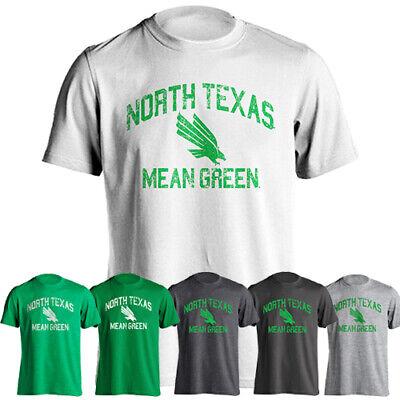 official photos 66f22 36315 University North Texas UNT Mean Green Distressed Retro Logo Short Sleeve  T-Shirt | eBay