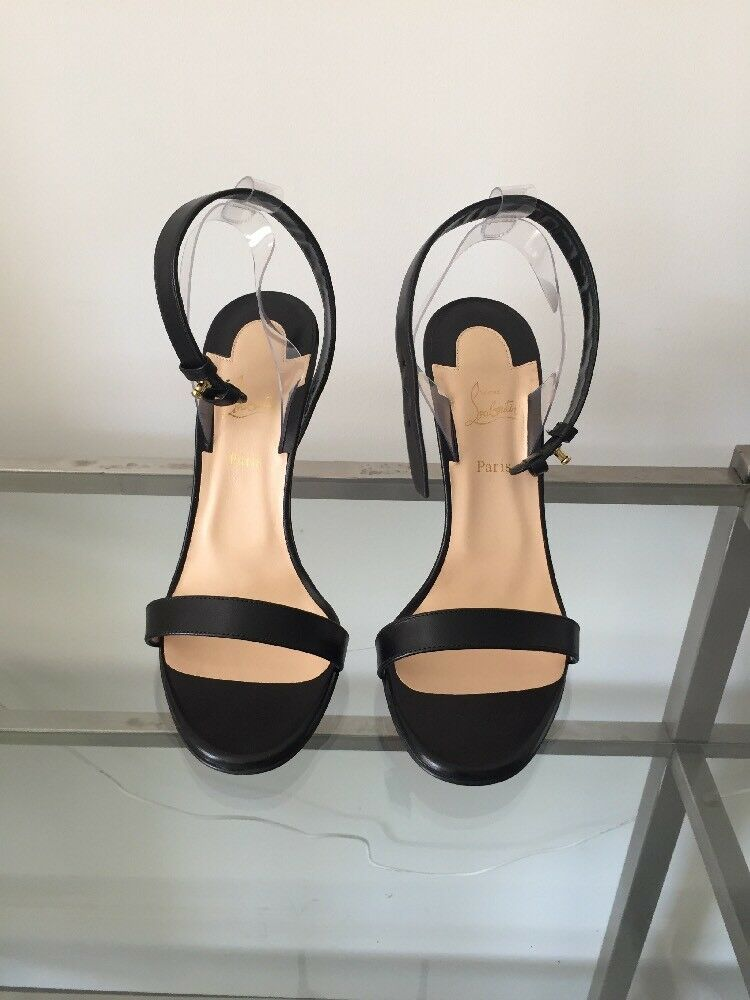 795 CHRISTIAN LOUBOUTIN JONATINA 100 LEATHER BLACK SANDALS HEELS SIZE 37.5